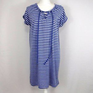 Exist Blue Striped Beach Hoodie Cover Up Dress